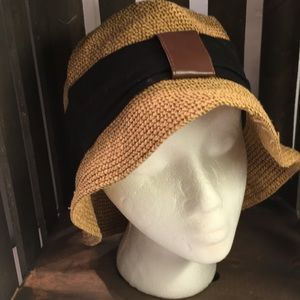 Straw Hat w/ Black Fabric